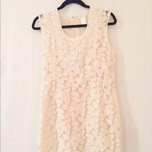 Cream Laced Leaf Dress